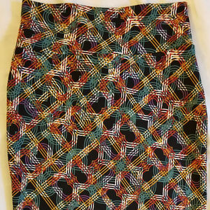 LulaRoe M Cassie Skirt Mayan Green Gray Gold Black